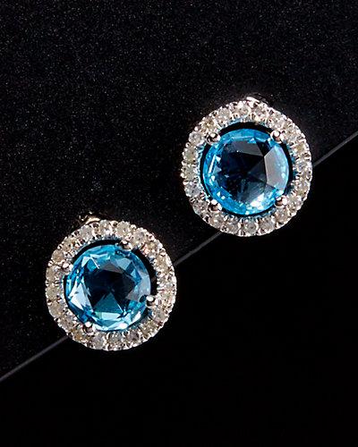 Meira T Silver 1.57 ct. tw. Diamond & Topaz Studs