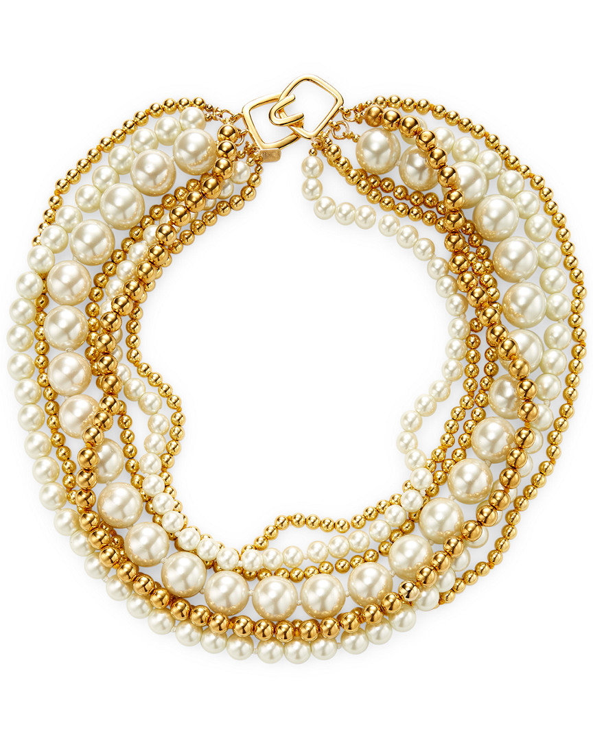 Kenneth Jay Lane ALTERNATING PEARL STATEMENT NECKLACE