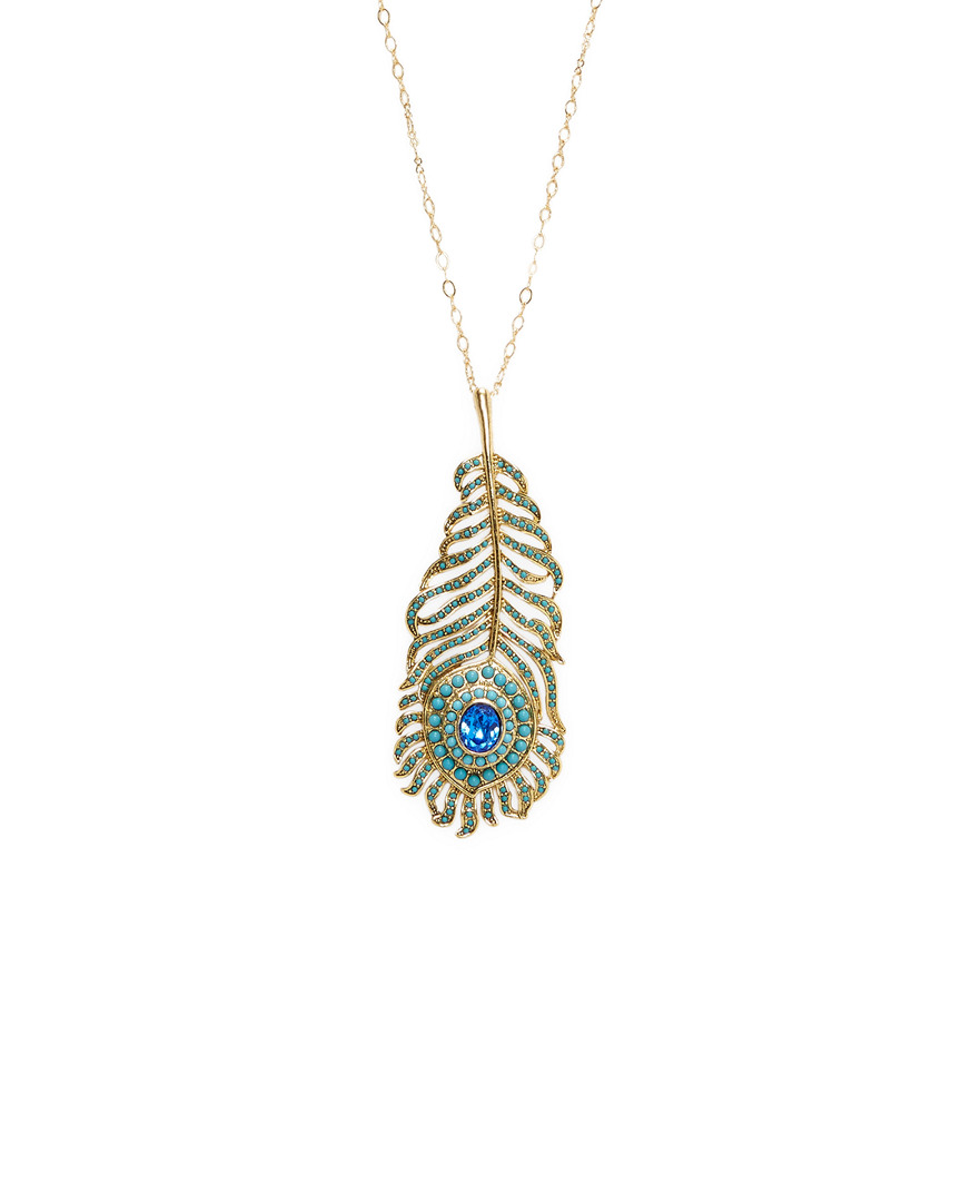 Kenneth Jay Lane CRYSTAL PEACOCK NECKLACE