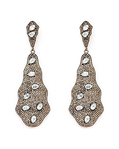 Jewels by Lori Kassin Silver 17.77 ct. tw. Diamond & Chalcedony Earrings