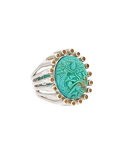 Stephen Dweck Silver Citrine & Turquoise Dragon Ring