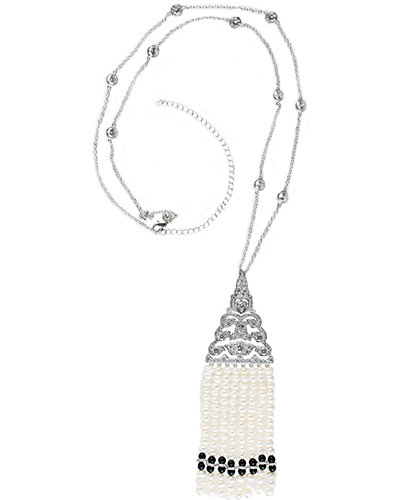CZ by Kenneth Jay Lane Plated 5.08mm Pearl Deco Fringe 30in Necklace