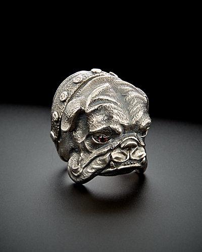 Scott Kay Silver Garnet Bulldog Ring