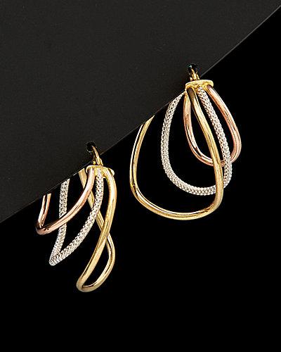 18K Italian Gold Tri-Color Graduated Triple Hoop Earrings