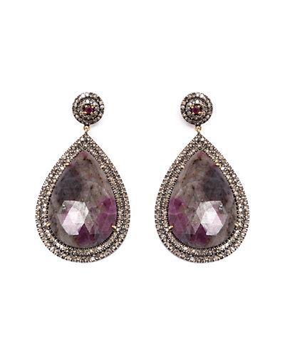 Jewels by Lori Kassin Silver 34.14 ct. tw. Champagne Diamond & Sapphire Earrings