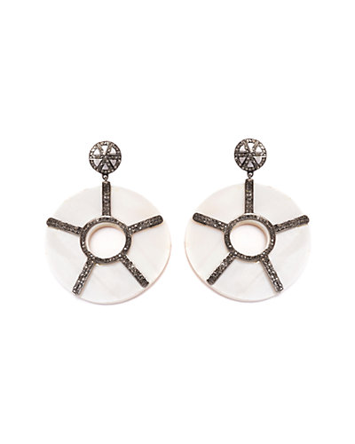 Jewels by Lori Kassin Silver 21.80 ct. tw. Champagne Diamond & Mother-of-Pearl Earrings