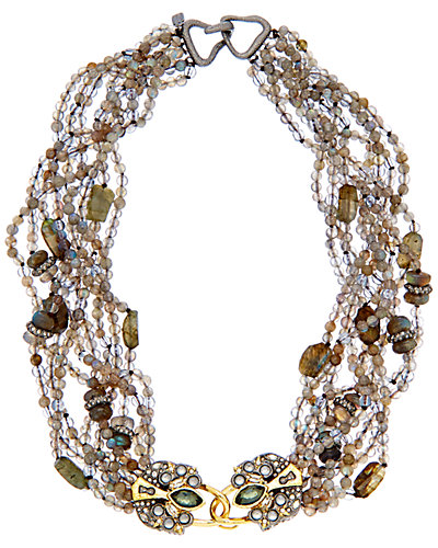 Alexis Bittar 14K Plated Labradorite, Quartz & Crystal Bib Necklace