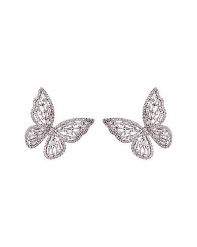 Eye Candy Los Angeles Butterfly Motif Cz Earrings by Eye Candy Los Angeles