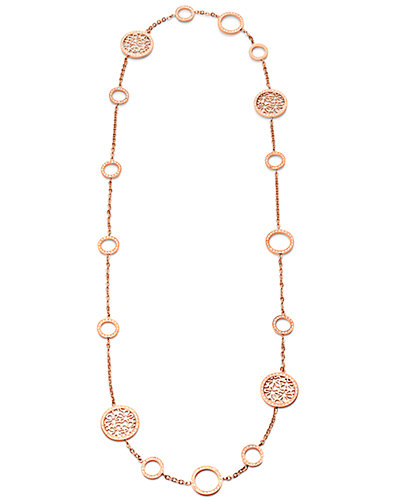 Folli Follie Rose Gold Plated Crystal 35in Endless Station Necklace