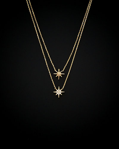 14K Italian Gold Cubic Zirconia North Star Layered Necklace