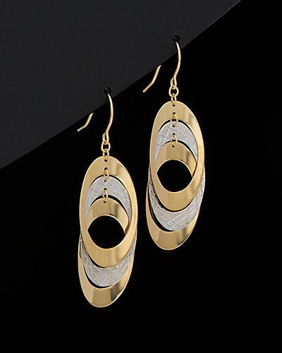 14K Two-Tone Gold Triple Oval Dangle Earrings