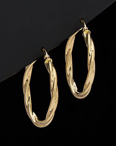 18K Italian Gold  Twist Hoop Earrings