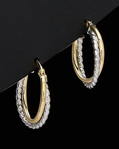 18K Two-Tone Gold Polished/Twist Double Hoop Earrings