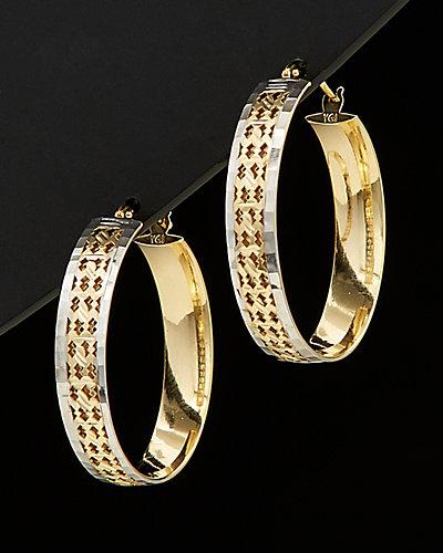 14K Italian Gold Two-Tone Filigree Hoops