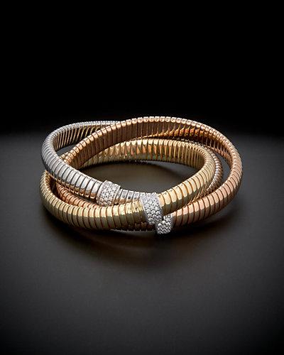 18K Italian Gold Tri-Color 0.85 ct. tw. Diamond Intertwined Bracelet