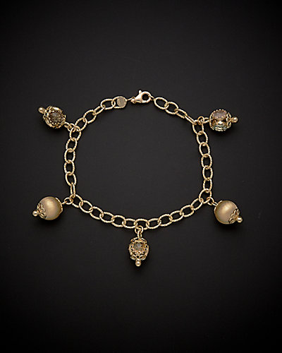 14K Italian Gold 7.00 ct. tw. Gemstone Charm Bracelet