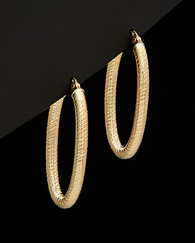 14K Italian Gold Textured Oval Hoop Earrings