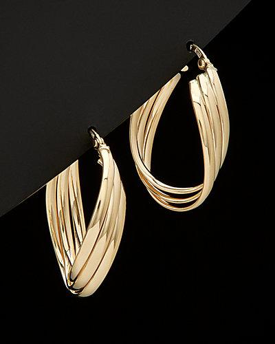 14K Italian Gold Triple Oval Hoop Earrings