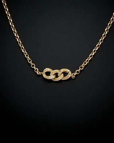 14K Italian Gold Triple Curb Adjustable Necklace