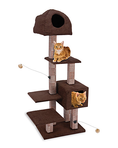 Dual Cat Hide-Away & Lounge Tower with Rubbing Posts
